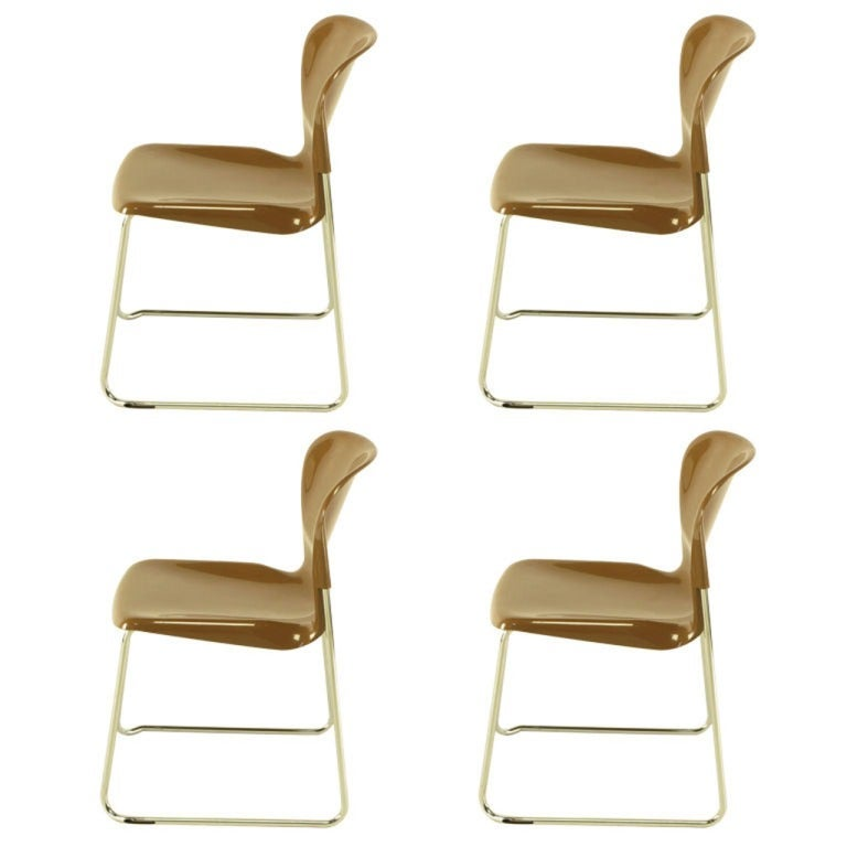 Four Gerd Lange West German Chrome SM 400 Swing Chairs For Sale