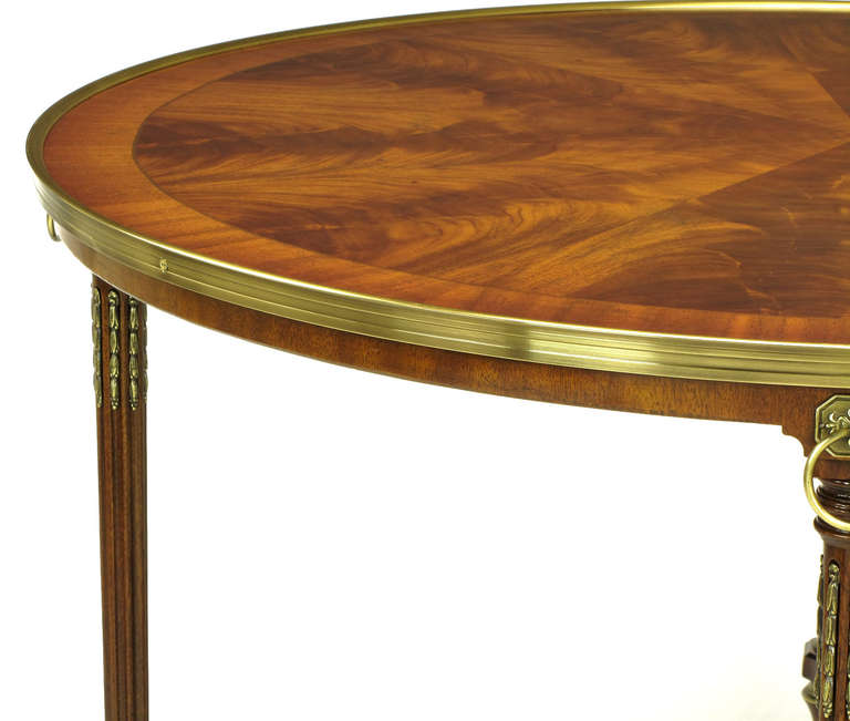 John Widdicomb Regency Center Table with Crotch Mahogany Parquetry Top In Excellent Condition For Sale In Chicago, IL