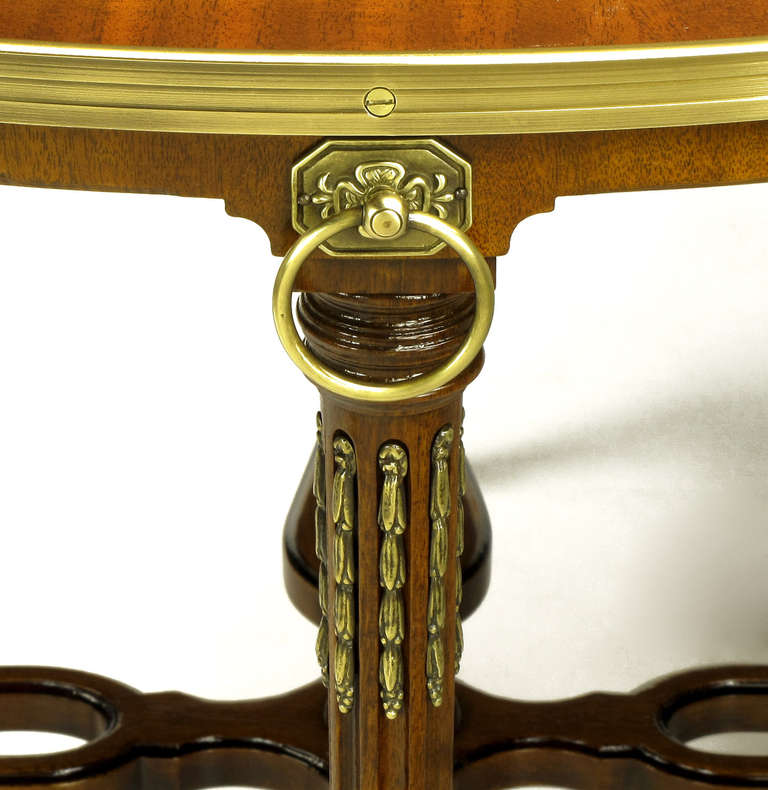 Late 20th Century John Widdicomb Regency Center Table with Crotch Mahogany Parquetry Top For Sale