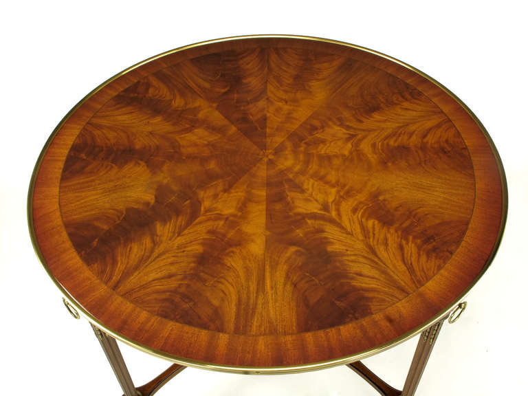 John Widdicomb Regency Center Table with Crotch Mahogany Parquetry Top For Sale 4