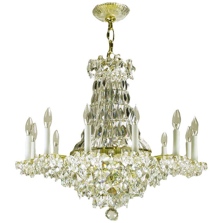 Art Deco Revival Brass, Crystal and Mirror Twelve-Arm Chandelier For Sale
