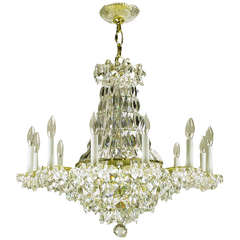 Art Deco Revival Brass, Crystal and Mirror Twelve-Arm Chandelier