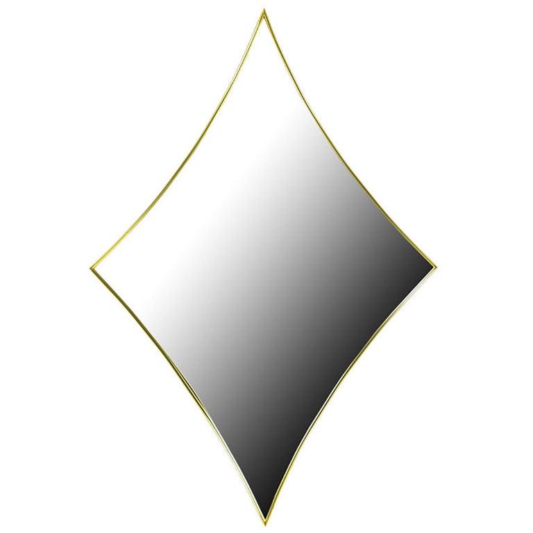 Brass Rhombic Arc Framed Mirror For Sale