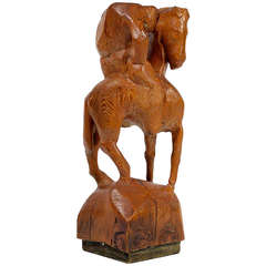 """Horse & Weary Rider"" Large Abstract Carved Wood Sculpture"