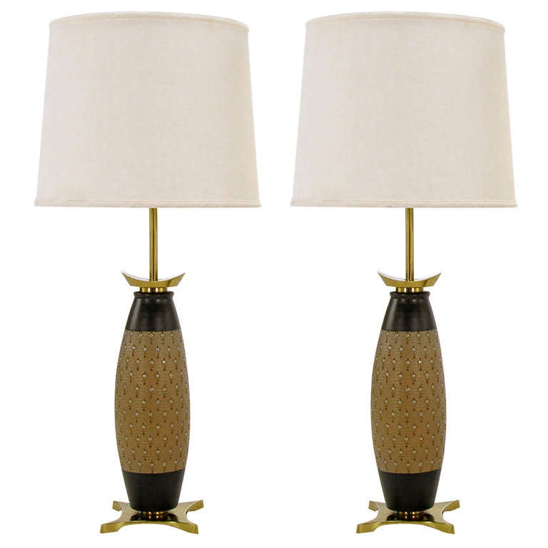 Pair of Stiffel Hand Thrown and Incised Pottery Table Lamps For Sale