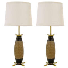 Pair of Stiffel Hand Thrown and Incised Pottery Table Lamps