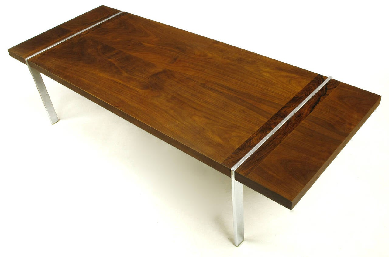 chrome, walnut and rosewood tripartite coffee tablelane for