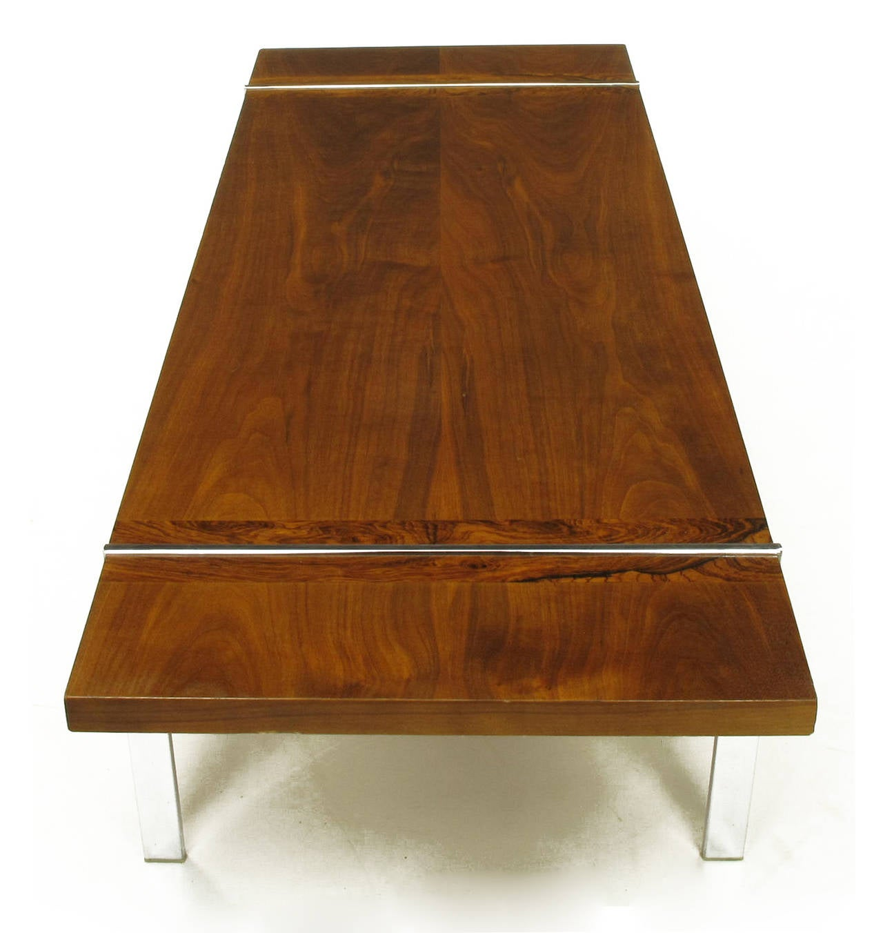 Park Lane Coffee Table: Chrome, Walnut And Rosewood Tripartite Coffee Table By