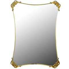Brass Regency Mirror with Foliate Corner Brackets