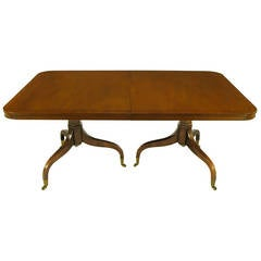 Kittinger Mahogany Dining Table with Unusual Double Pedestal Base