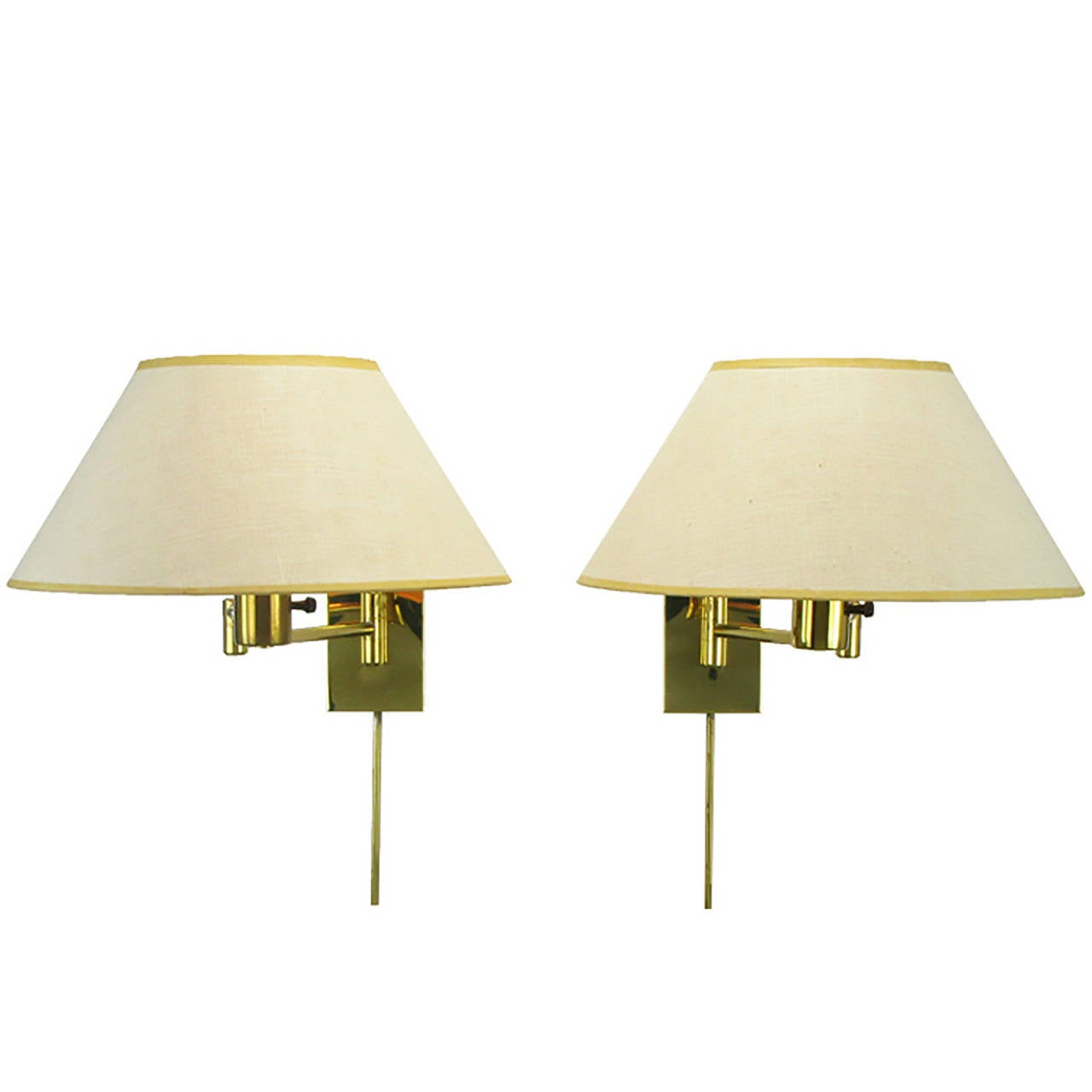 Pair of Walter Von Nessen Brass Swing-Arm Wall Lamps - 3 Pair Of Georg W. Hansen Brass 1706 Double Swing Arm Wall Lamps
