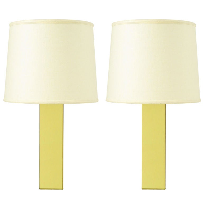 Pair Polished Brass Column Table Lamps
