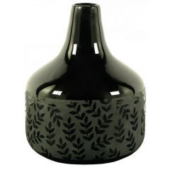 Acid Etched Laurel Leaf Black Glass Vase