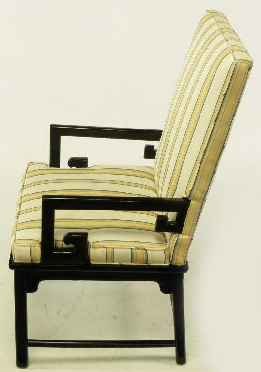 Pair Michael Taylor Ebonized Mahogany Greek Key Arm Chairs 3