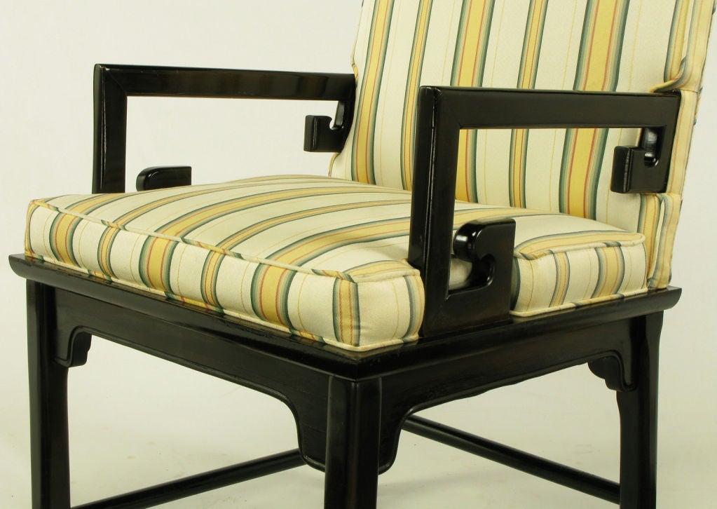 Pair Michael Taylor Ebonized Mahogany Greek Key Arm Chairs 5