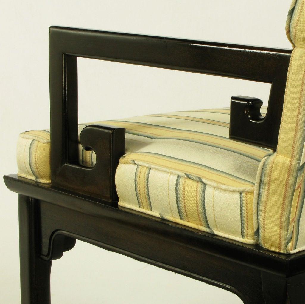 Pair Michael Taylor Ebonized Mahogany Greek Key Arm Chairs 6