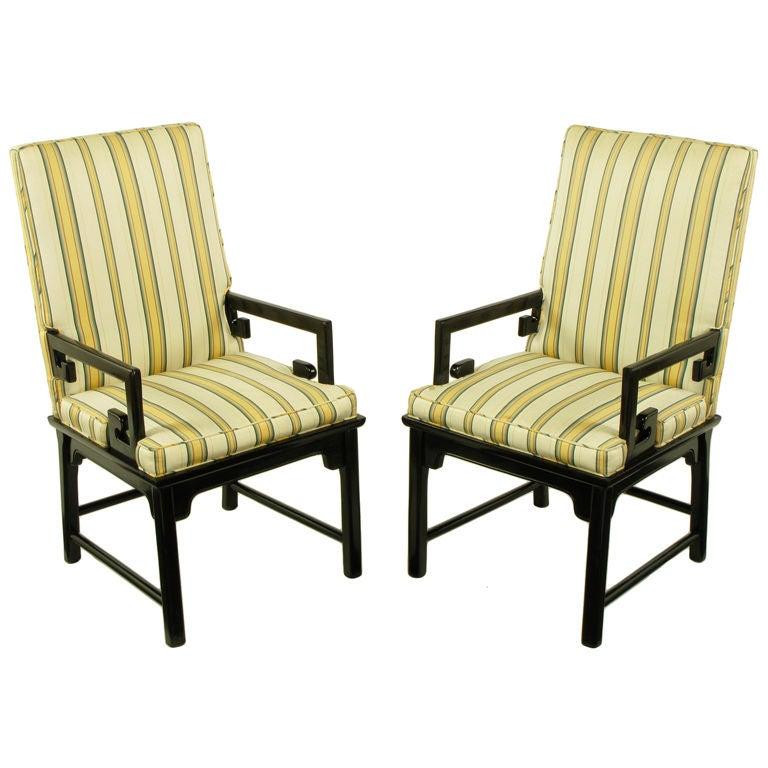 Pair Michael Taylor Ebonized Mahogany Greek Key Arm Chairs