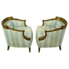 Pair Oxford Kent Burled Walnut & Aqua Striped Silk Lounge Chairs