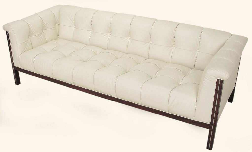 Bert England Button-Tufted White Ostrich Texture Sofa image 3