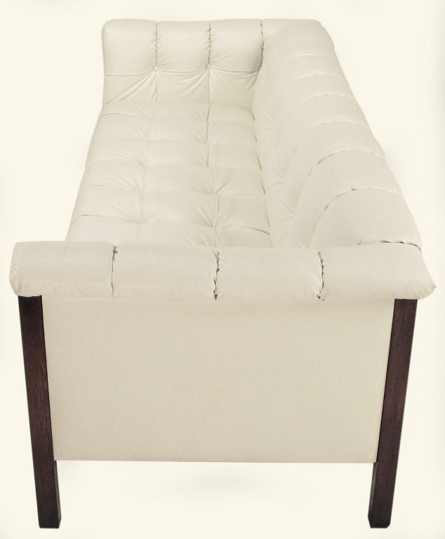 Bert England Button-Tufted White Ostrich Texture Sofa image 4