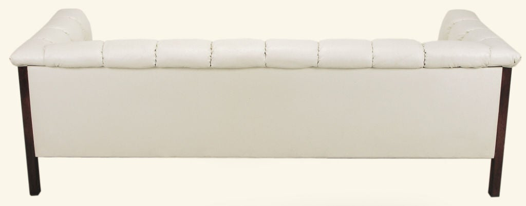 Bert England Button-Tufted White Ostrich Texture Sofa image 5