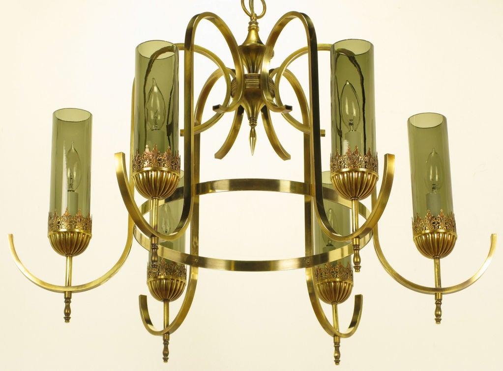 Elegant Bent Brass Six Arm Smoked Hurricane Shade