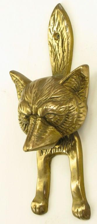 Solid cast brass fox door knocker for sale at 1stdibs - Fox head door knocker ...