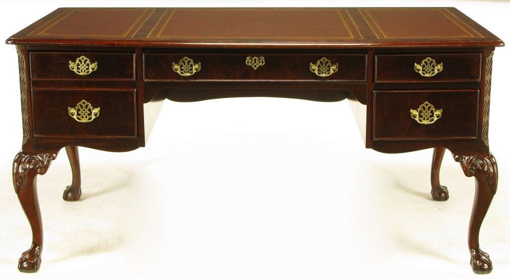 Sligh Mahogany Amp Tooled Leather Cabriole Leg Desk Image 2