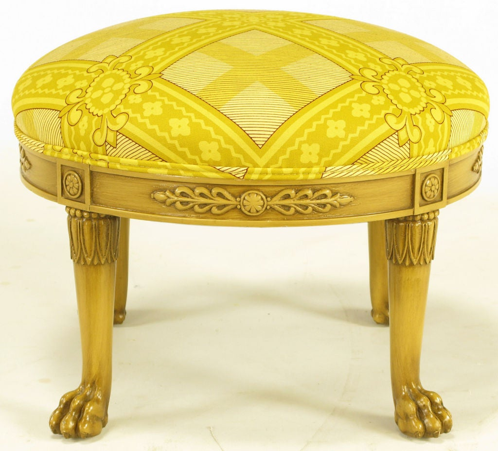 Round Lion S Paw Foot Empire Style Ottoman At 1stdibs