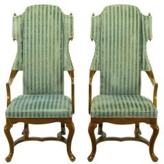 Tall Scrolled Wing Arm Chairs In Cut Velvet With Brass Finials