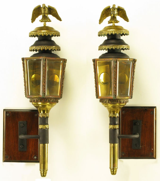 Pair Late 1800s Converted Coach Lights With Brass Eagles