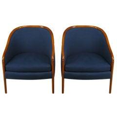 Pair Ward Bennett Walnut & Wool Lounge Chairs