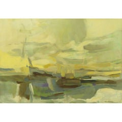 1964 Abstract Seascape Oil Painting By B. Levin