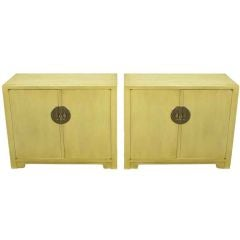 Pair Baker Far East Collection Ivory Glazed Mahogany Cabinets