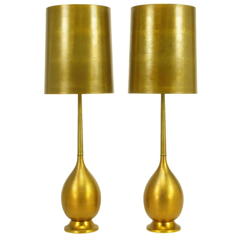 Ribbed Brass Floor Lamp: Pair Tall Ribbed Brass Gourd Form Table Lamps At 1stdibs