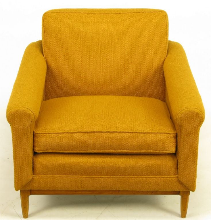 Rolled Arm And Back Wool Upholstered Lounge Chair And