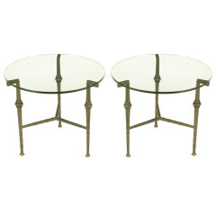 Pair Round Giacometti-Style Hammered Iron & Glass End Tables