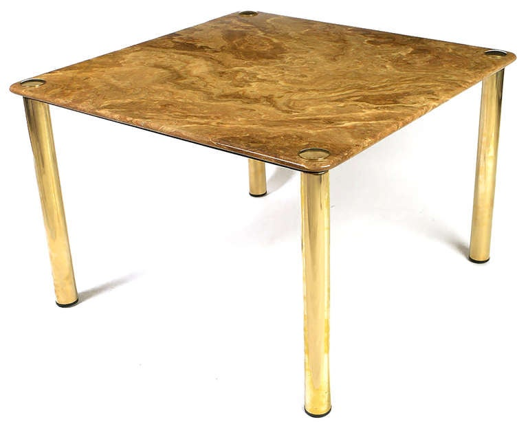 Pace Collection Square Onyx and Brass Dining Table 3