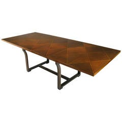 Rare Tommi Parzinger Parquetry Top Mahogany Dining Table