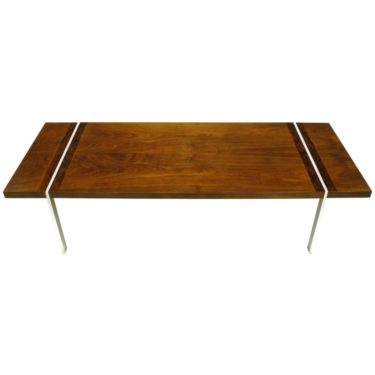 Chrome Walnut And Rosewood Tripartite Coffee Table By Lane At 1stdibs