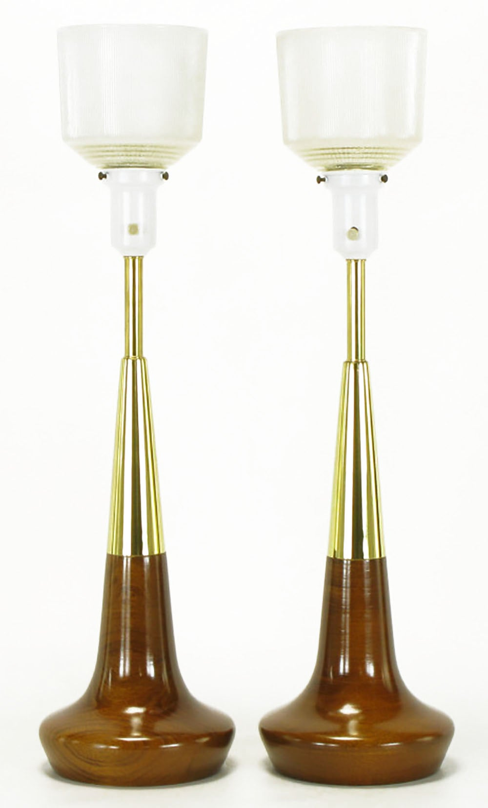 American Pair of Lightolier Brass and Walnut Table Lamps For Sale