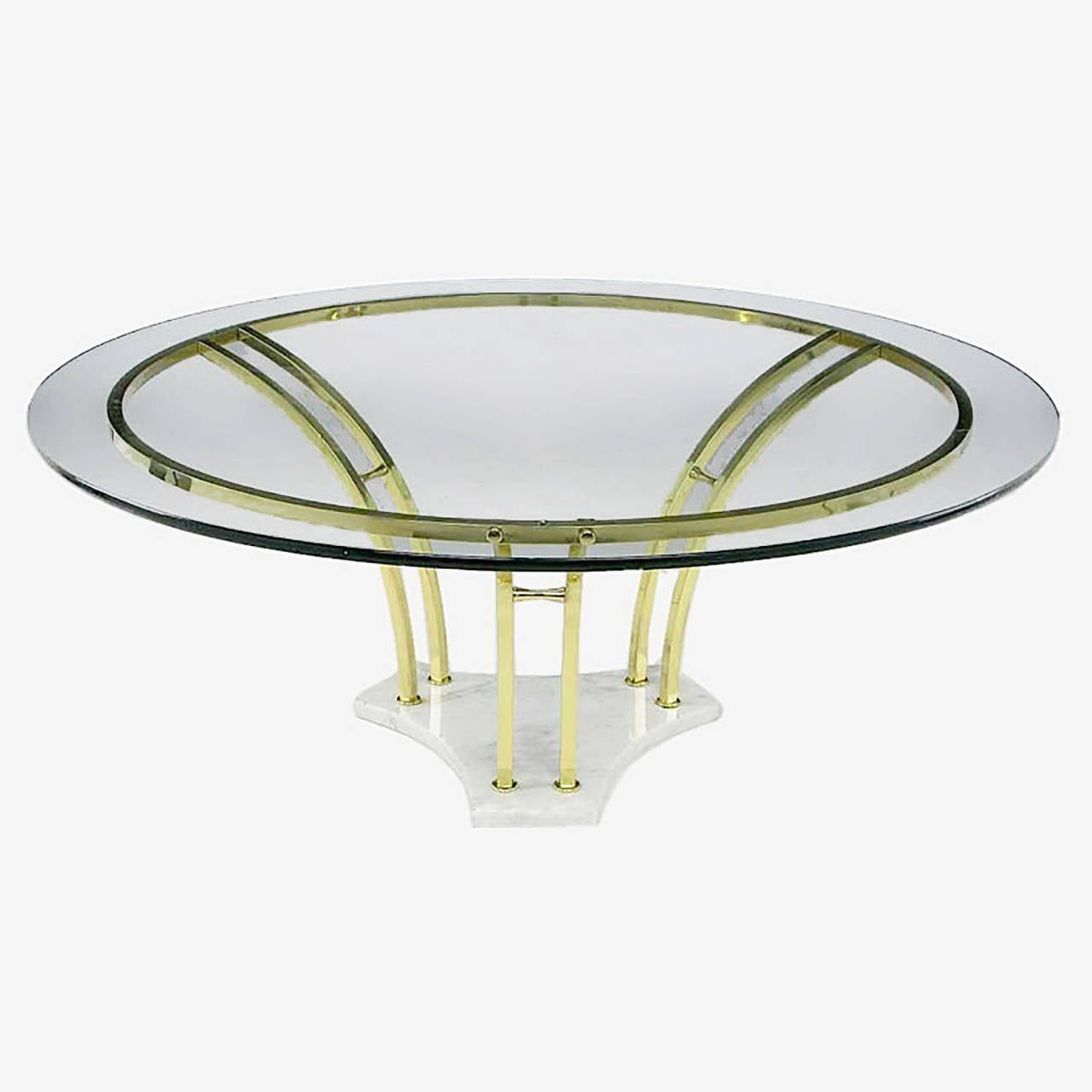 Elegant brass and carrara marble round coffee table for for Round coffee tables for sale