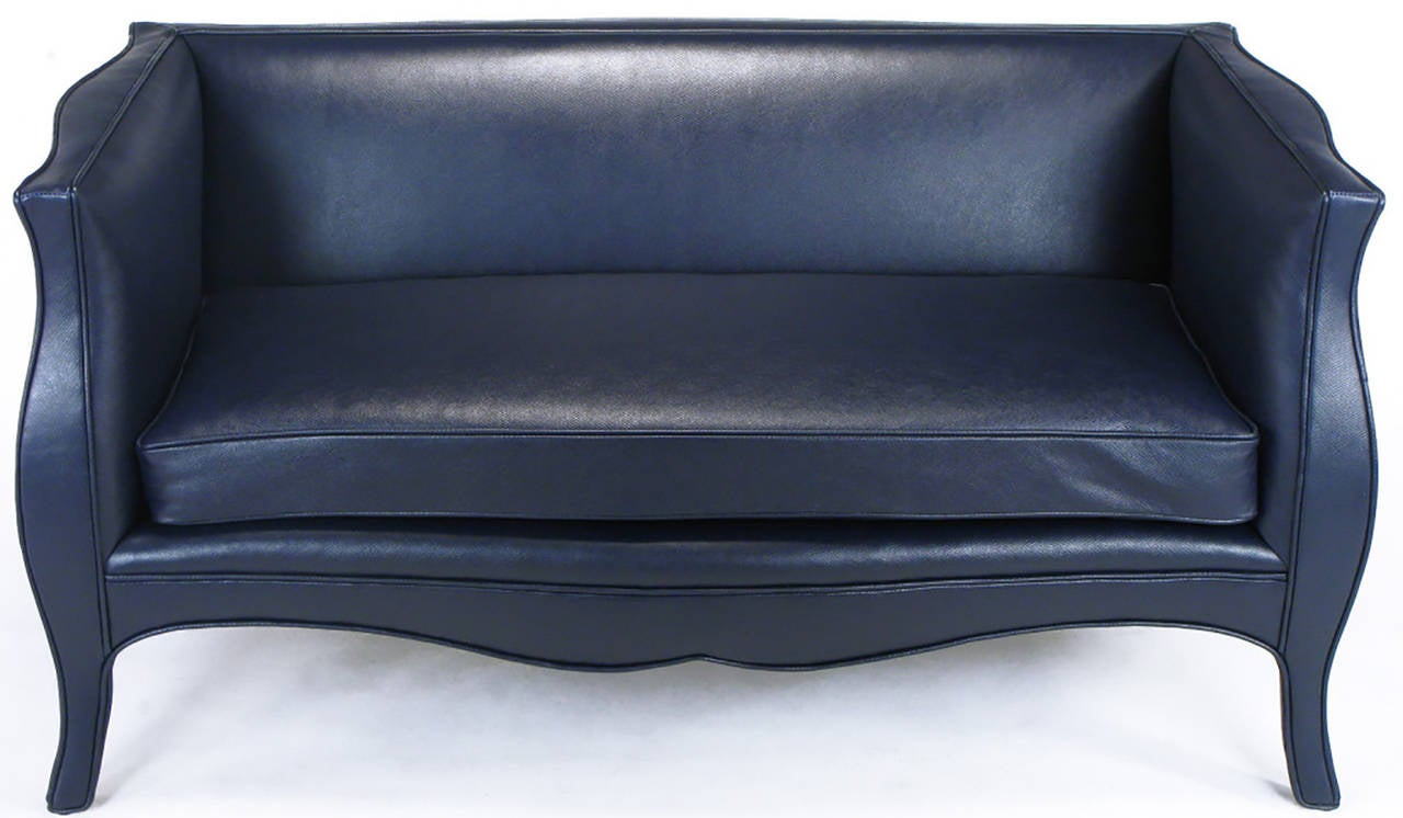 American Pair of Richard Himmel Lutece Settees in Blue Edelman Reptile Patterned Calfskin For Sale