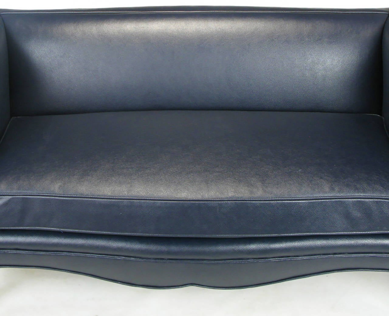 Pair of Richard Himmel Lutece Settees in Blue Edelman Reptile Patterned Calfskin For Sale 2