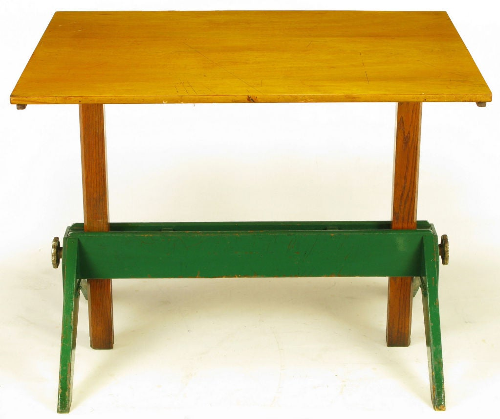 Early 1900s Green Lacquered Oak And Maple Drafting