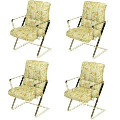 Four Channeled & Button Tufted Chrome Z-Frame Dining Chairs