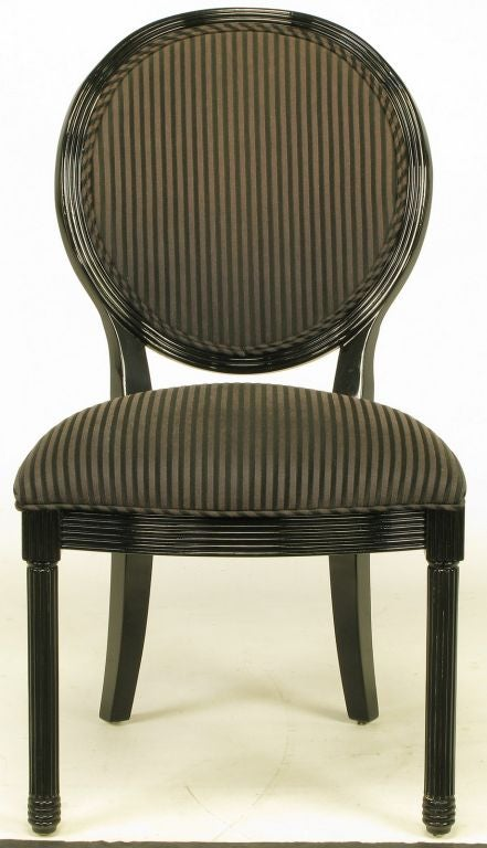 Rare Set Of Eight Jay Spectre Black Lacquer Dining Chairs
