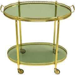 Pierced & Reeded Brass Two-Tier Oval Tray-Top Bar Cart