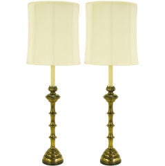 """Pair Stiffel 52"""" Tall Antiqued Brass Table Lamps"""