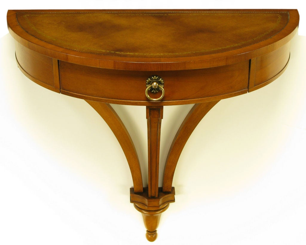 Demilune Wall Mounted Walnut and Tooled Leather Console Table at ...